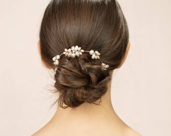 Pennard Garland - Freshwater pearl hair decoration in blush and ivory with Swarovski crystal.