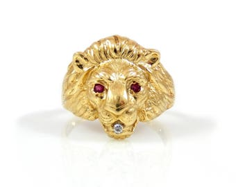 10K Lion Head Men's Ring with Ruby and Diamond - X4398