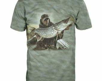 New Ultramodern 3D Printed High Quality Fisherman with big fish Men's Blue T-shirt