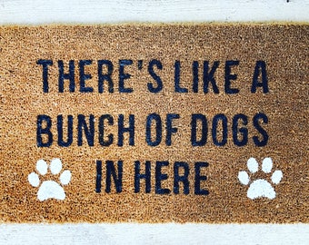 Nice Custom Welcome Door Mat   Dog Welcome Mat   Pet Door Mat   Bunch Of Dogs