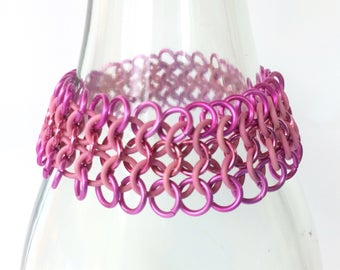 Chainmaille bracelet, european 4-1 of pink with rubber rings, stretch bracelet, woven stretchable bracelet, pink bracelet, Tessa's chainmail