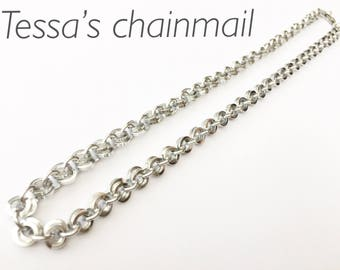 Chainmaille necklace, silver necklace, minimalist silver necklace, minimalist necklace, silver jewelry, silver bracelet, Tessa's chainmail