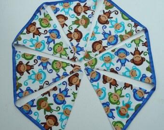 Monkey Bunting,Ready To Post.Handmade Fabric Bunting, Jungle Nursery, Lined Nursery / Play room bunting.