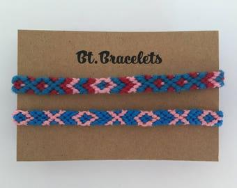 Set of two friendship bracelets straps blue/red/pink 2.00