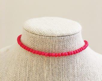 Hot Pink Beaded Choker