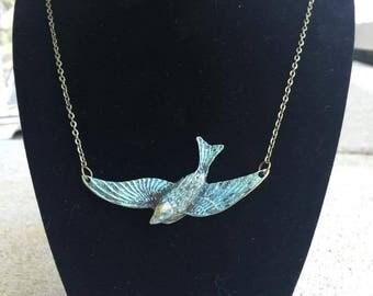 Flying Sparrow Necklace, Patina, Verdigris, Boho, Bohemian, Boho Jewelry