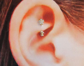 14k solid Gold Flower,16g, Rook Piercing,Daith,Cartilage Curved Barbell with cz's..8mm