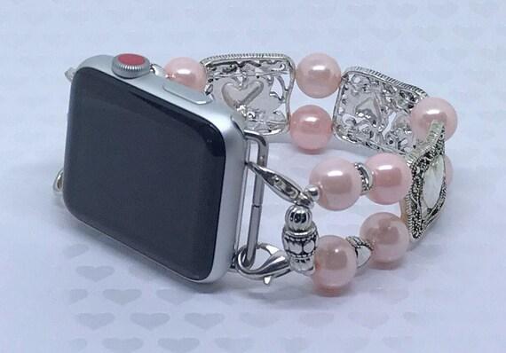 """Apple Watch Band, Women Bead Bracelet Watch Band, iWatch Strap, Apple Watch 38mm, Apple Watch 42mm, Silver Hearts Faux Pink Pearl 7 1/4"""""""