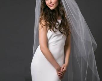 Double Tier  Wedding Veil Raw Edge Cathedral Veil Bridal Veil Ivory Off White Chanpagne DoubleTier Veil, Cut Edge Wedding Veil