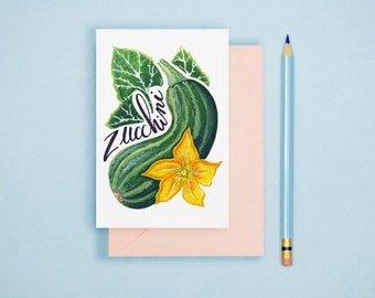 Zucchini Illustration Print - Vegetable Print, Rustic Kitchen Decor, Food Illustration, Watercolor Print, Vegetable Postcard, Watercolor Art