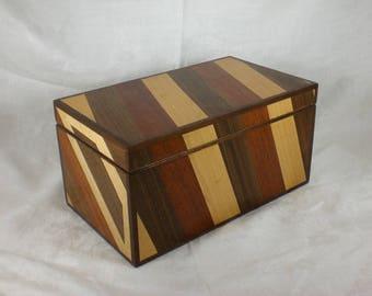 Jewelry Box - Walnut, Mahogany, and Maple Marquetry (Box-2)