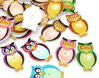 20 x Wooden Owl Buttons, Multicolour Craft/Scrapbooking/Jewellery Making