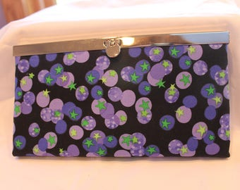 Women's wallet, Diva frame, Gift for her, Credit card holder, Zippered coin pocket, Cell phone pocket, Gift, Clutch purse, Blueberry