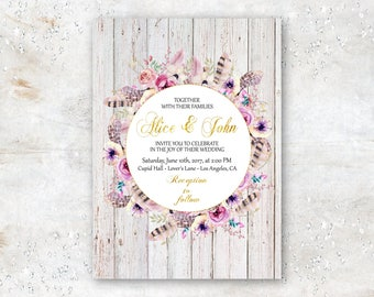 Boho Bohemian Gold Foil Digital Wedding Invitation with Flowers and Feathers Printable