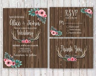 Rustic Wood Antlers With Flowers Wedding Invitation Set