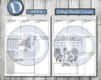 PPW-8 // Printable Journal Planner Pages - Instant Digital Download Pages for Print, Planning and Journaling - Bullet Journal Pages