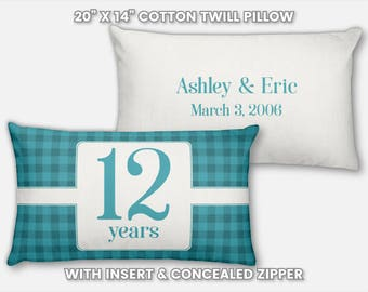 12th Anniversary Gift for Men 12 Year for Women Present Idea Him Her Gift Wife Husband Wedding Anniversary Gift Couple Pillow Personalized