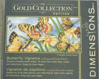 Cross Stitch Kit Butterfly Vignette Counted Cross Stitch The Gold Collection Petites Mariposa Papillons