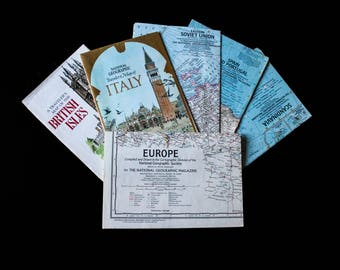 Set of 6 European National Geographic Maps