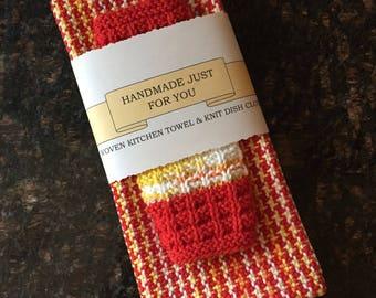 Handwoven Dishtowel set, cottage chic, 100% Cotton, Gift, Shower, Housewarming, Retro Style, Eco-friendly