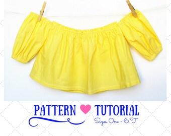 Off the shoulder baby top pattern, Flutter tops pattern, Baby tops, Flutter girls top, Baby tops sewing patterns