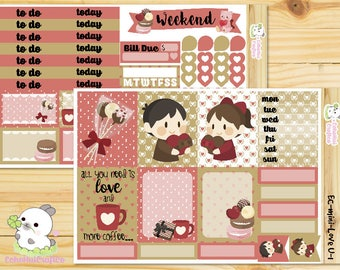 Love U/ Valentine's Day / Love You Mini Weekly Kit /Planner Stickers for use with Erin Condren Vertical Life Planner/ CLASSIC Happy Planner