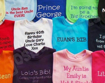 Personalised Baby Bib, Embroidered Bibs, Lots of Colours to choose from