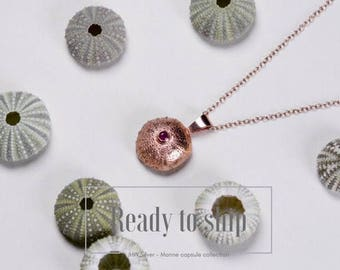 Rose gold and ruby sea urchin pendant