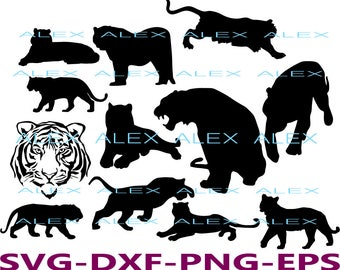 70% OFF, Tiger SVG, Tiger Silhouette png, eps, svg, dxf, Tiger Clipart, Animals Silhouettes, African Animals Digital Files