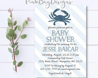 Nautical Crab Baby Shower Invitation, Nautical Shower Invitation, Blue Baby Shower Invite, Crab Invitation, Nautical Baby Shower