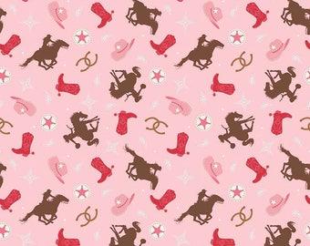 Cowgirl Flannel/ Pink Cowgirl Fabric/ Western Fabric/ Riley Blake Cowgirl/ Fabric by the Yard/ Baby Girl Fabric/ Flannel Fabric