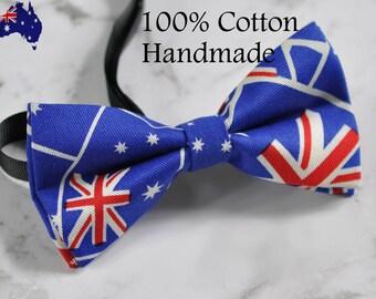 New Men Women 100% Cotton Hand made Australian Flag Bow Tie Bowtie Aussie Australia Day