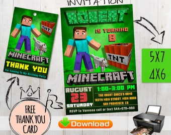 Minecraft birthday invitation +free Thank you card. For your Minecraft Party