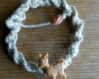 Deer animal button hemp adjustable bracelet