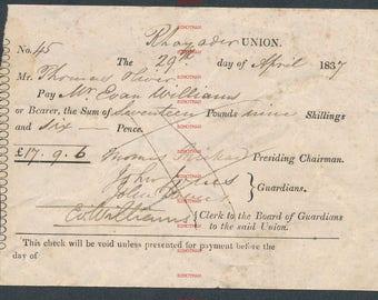 Original 1837 cheque check Rhayader Union Radnorshire Wales  JA55