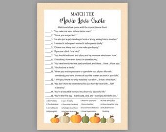 Fall Bridal Shower Games, Match the Movie Love Quote, Printable Bridal Shower, Movie Quote Game, Movie Love Quotes, Autumn, Pumpkin, J019