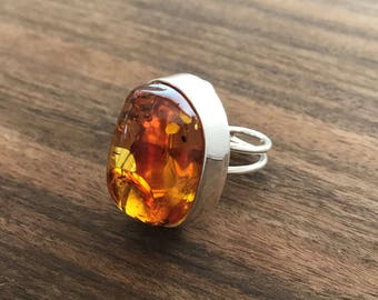 Natural Baltic Cognac Amber Adjustable Silver Ring, Amber Statement Jewellery, Amber Ring, Amber Jewellery, Amber and Silver Ring, Rings