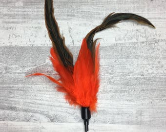 Cat toy | Rooster duster cat wand teaser toy | Interactive Cat Toy | Feather cat teaser | Orange cat toy | Cat toy for indoor cats