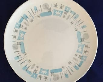 """Vintage 1950's Atomic/Mid Century Blue Heaven 12""""  Platter by Royal China"""