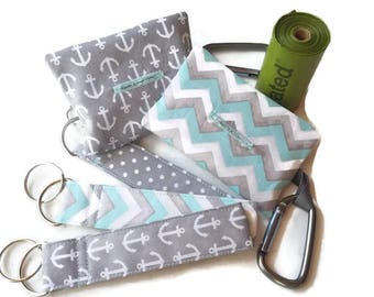 Dog Poop Bag Holder, Waste Bag Dispenser, Refuse Bag Holder, Gray Nautical, Chevron with Polka Dots, Matching Key Chains Available!