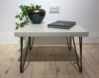 Concrete Industrial Coffee Table 60cm X 60m in Cool Grey or Off-White // Clear Coat Steel Hairpin Legs // Light Weight Table Worktop