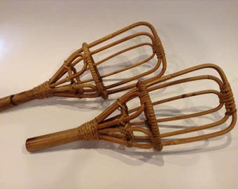 Vintage Pair of Wicker Rattan/Bamboo Racket Ball Sports Racquets Home Decor