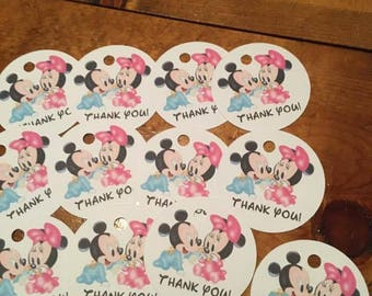 12 Baby Mickey and Minnie Mouse Party Favor Thank You Tags