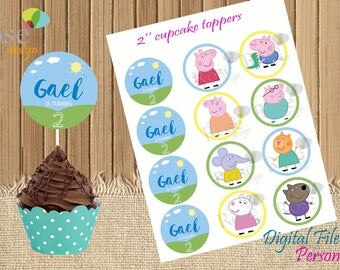 Peppa Pig Cupcake Toppers / Peppa Pig & Friends / Peppa Pig stickers / party tags