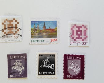 Setx6 LITHUANIA Vintage Postage Post Stamp, Antique Postal Stamps, Collectible stamps, Collection philately LT5