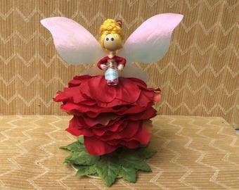 Miniature Fairy Doll, Fairy Doll, Fairy Garden Doll, Fairy Garden, OOAK, Flower Petal Doll, Fairy Miniature, Red Fairy, Fairy Collectible