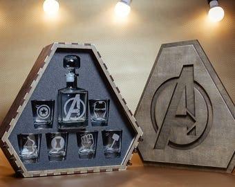 Avengers Christmas Gift, Avengers Gift, Avengers Whiskey Decanter Set, Whiskey Glasses, Super Christmas Gift, Gift for Man, Wedding Gift