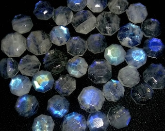 RAINBOW MOONSTONE faceted polygon shaped gemstone,nice Blue flashy moonstone,10 mm -- 12 mm , 145 ct. -- 35 pieces [E1915] gemstone