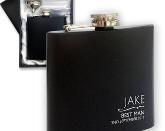 Best Man Gift - Personalised engraved BEST MAN wedding hip flask gift, black coated 6oz stainless steel personalized flask - NYM4