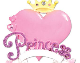 Princess Heart Girl Personalized Christmas Tree Ornament